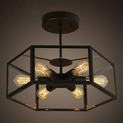 Chose Retro Restaurant créatif Light Bar vent industriel verre hexagonal fort Lampe Lampe en verre