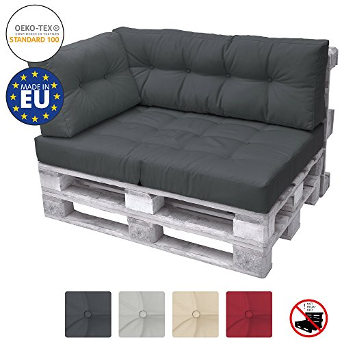 Beautissu Palettenkissen Premium Seitenkissen ECO Elements Palettenpolster Kissen Europalette 60x40x10-20cm - Lounge-sessel Home