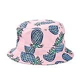 Kuyou Damen Sonnenhut Fischerhut Ananas Sommer Kappe Hüte (Rosa)