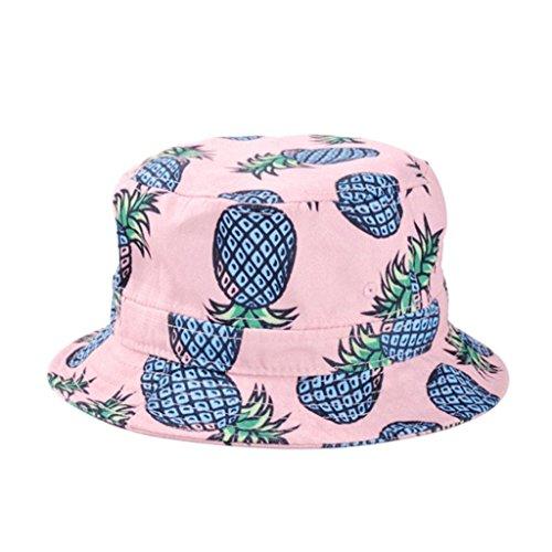 Kuyou Damen Sonnenhut Fischerhut Ananas Sommer Kappe Hüte (Rosa) (Große Rosa Schlapphut)