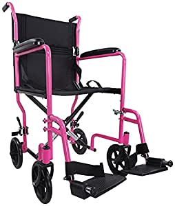 Aidapt Pink Steel Compact Transport Wheelchair (Eligible for VAT relief in the UK)