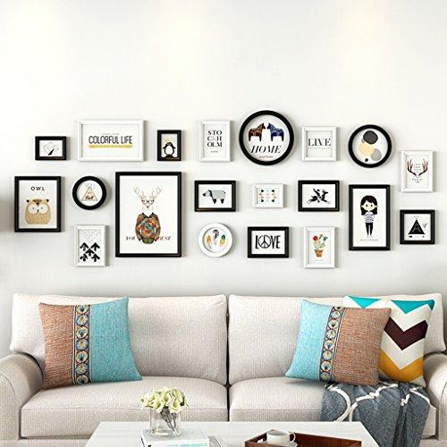 Cadres photo en bois de pin, mur accrochant de combinaison de décoration à la maison de style moderne/y compris des images, ensemble de 20 cadres @The harvest season (Couleur : B)
