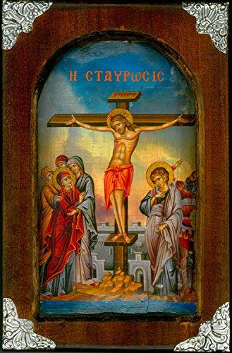 Handmade greca cristiana ortodossa legno icona della crocifissione su tela/M5