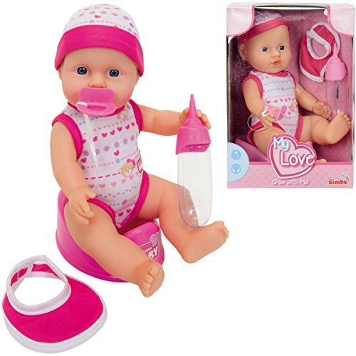New Born Babypuppe aus Vinyl, 2-fach sortiert, Trink-und Nässfunktion, 30 cm: Funktionspuppe Trinkpuppe Püppchen Baby Puppe Spiel