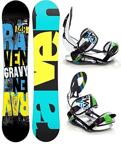 Snowboard Set: Snowboard Raven Gravy Gullwing + Bindung Raven s250 Black/White/Green/Blue XL
