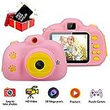 Haisito Cámara Fotos para Niños , 18MP HD Mini Cámaras Digital Recargables para Infantil con Selfie Video Juego Cámara Juguetes Regalo para Niños de 5-12 AñOs (32GB TF Tarjeta Incluida)(Rosado)