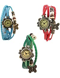 Multicolour leather strap analog watch combo for women- Pack of 3