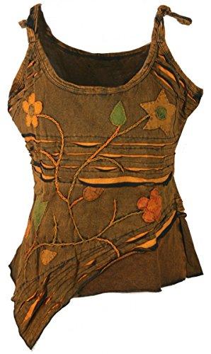 (Dark Dreams Ethno Psy Nepal Pixie Top Tank Shirt Razorcut Witchy Pagan 36 38 40 42, Farbe:rost, Größe:S/M)