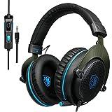 SADES R3 Stereo Kopfhörer Gaming Headset mit Mikrofon Lautstärkeregler 3,5 mm Over-Ear Kopfhörer für PC PS4 Xbox One MAC