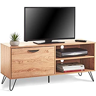 VonHaus Capri TV Unit 120cm 47in - TV Stand, Media Unit, Entertainment Centre - Pull Down Door & 2 Shelves - Vintage Scandi Storage Console Table - Lounge, Dining or Living Room Furniture