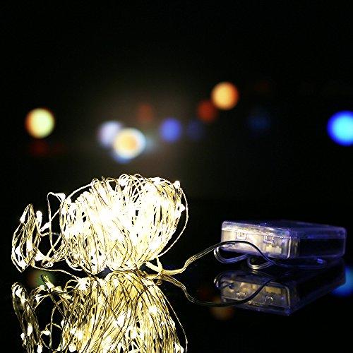 OSAN Lichterkette 10 Meter 100 LED 4.5 V Schnur Licht Light String für Innen Außen Garten Weihnachten Hochzeit Party Warmweiss