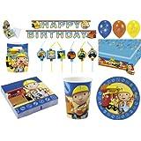 64-teiliges Party Set Bob der Baumeister Teller, Becher, Servietten, Tischdecke, Einladungskarten, Partykette, Partytüten, Trinkhalme, Luftballon