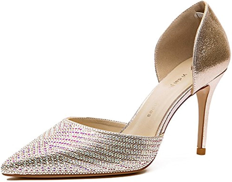 WKNBEU Damen Spitz Stiletto Heels Gold Schwarz Mode Shallow Work Schuhe Party Brautjungfer Funkelnden Strass Brautö