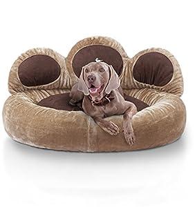 Knuffelwuff panier chien - lit pour chien - coussin - corbeille pour chien Luena - forme de patte - marron XL 95cm