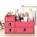 Home-Neat tuercas de escritorio de almacenamiento Cute Cat Display Boxes Caja Madera Estante de maquillajes Maquillaje Cosméticos Joyería Organizador (4 Cajones+ 1 compartimentos)