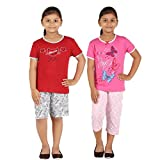 #7: FICTIF Kid Girl's Top & Capri Set (2FG303-CATLP Red&White,Light Blue&Dark Blue Capri &Top,Short&Top) Pack Of 2