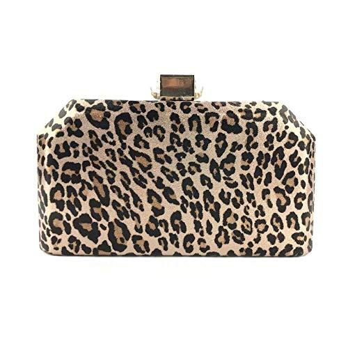 Cartera de Mujer Bolso de Fiesta de Noche de Leopardo de Cuero de PU for Mujer Bolsos de Hombro de Embrague Bolsos Monedero (Color : Gold, Size : S)