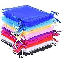 Mudder Bolsas de Organza de Regalo para Boda Favores y Joyas, 50 Piezas, 10 Colores, 4,7 x 3,6 Pulgadas
