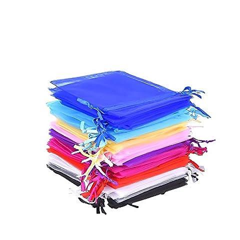 Mudder 10 Farben mehrfarbige Organzasäckchen Organzabeutel Geschenkbeutel Schmuckbeutel Verpackung, 4,7 x 3,6 Zoll, 50 Stück
