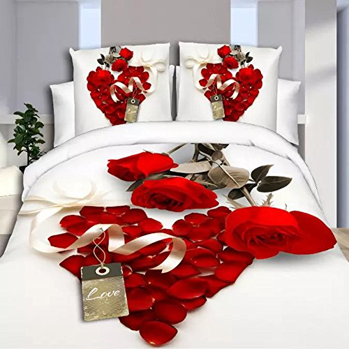 Rose Queen Tröster (3D Hot Weiß Rot Rose Bettwäsche-Set Diamanten Bettbezug Doppelbett Bettlaken Kissenbezüge)