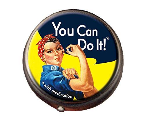 Rosie the Riveter Pill Box - Compact 1 or 2 Compartment Medicine Case -