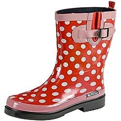 Botas de lluvia de goma para mujer MADSea, rojas con lunares, color Rojo, talla 38 EU