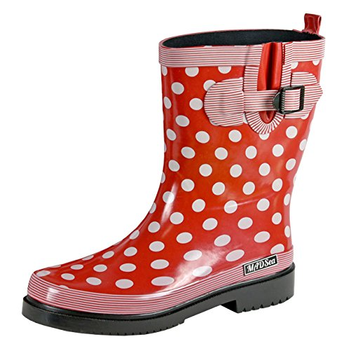 MADSea Womens Ocean - Red Polka Dot Wellington Boots