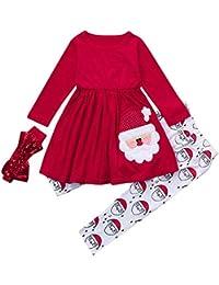 Beikoard Kinder Baby Mädchen Langarm Schneemann Print Tops Hosen Weihnachten Outfits Taufbekleidung Bekleidungssets 3 Stücke Tops Hosen Schal