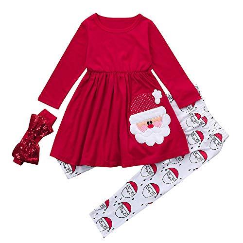 Beikoard Kinder Baby Mädchen Langarm Schneemann Print Tops Hosen Weihnachten Outfits Taufbekleidung Bekleidungssets 3 Stücke Tops Hosen Schal (rot-2, 90)