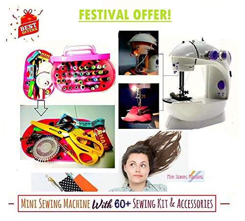 Sewing Innovations Mini Sewing Machine For Home & Beginners With Big Sewing Kit ,Portable & Compact,60 + Accessories: 40 Colored