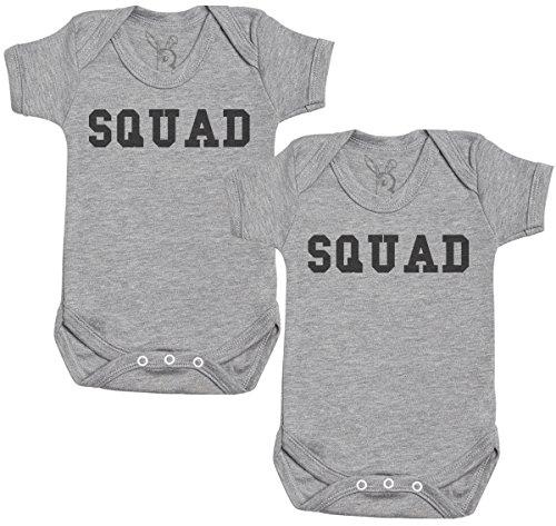 Baby Bunny Squad Regalo para Gemelos bebé, Body para Gemelos bebé niño, Body para Gemelos bebé niña - 12-18 Meses Gris