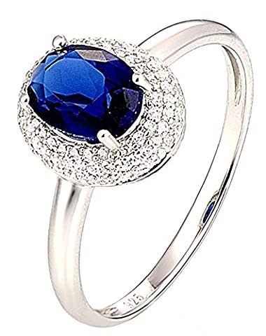SaySure - Silver Rings Wedding Ring Oval Blue and White (SIZE : 8)