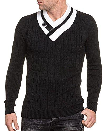 BLZ jeans - Pullover noir homme col châle boutonné Noir