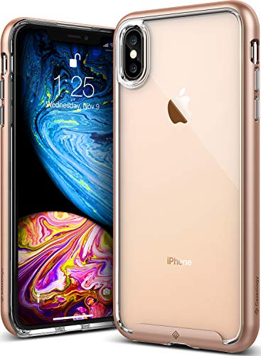 Caseology for iPhone XS Max Case [Skyfall Series] - Clear Slim Fit Corner Cushion Enhanced Drop Protection Transparent Design Case for iPhone XS Max 6.5 (2018) - Gold