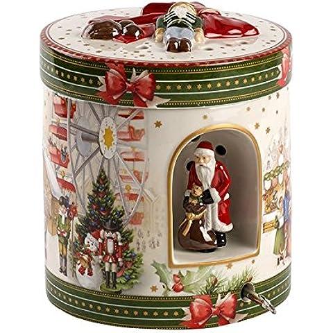 Villeroy Boch & Christmas Toys Paquete Redondo Mercado Grande, Porcelana, Color Rojo, Diseño Moderno Acabado Pulido Espejo, 18,5 x 18 x 26 cm