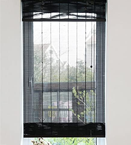 LIQICAI SW304-88 Black Roller Blinds Bamboo Translucent Decor pour Home Garden, 3 tailles disponibles ( Couleur : Model A , taille : 60 x 160 cm-2 Set )