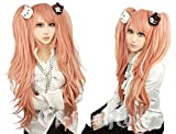 Cf-fashion Dangan-ronpa Junko Enoshima Cosplay Long Cuyly Wig with 1 Pair Bear Hair Clip for Halloween Carneval + Free Wig Cap