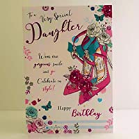 Jonny Javelin Very Special Daughter Happy Birthday Card - Flowers Shoes