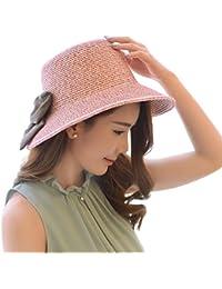 Mujer Sombrero de paja Con Bowknot / Sombrero Panamá Sombrero de verano Sombrero de la playa / Sombrero de sol One Size Rose