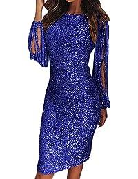 f1fb5a3be74b Guiran Donna Abito con Paillettes Brillanti Manica Lunga Bodycon Vestito da  Festa