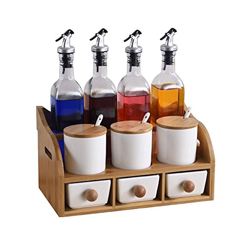 V.JUST Gewürzglas Set Salz Zucker Gewürz Box Organizer Gewürzbehälter Würze Topf Cruet Flasche Küche Kochen Werkzeuge