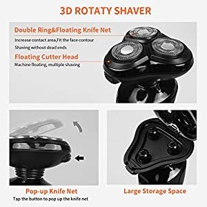MANLI Electric Shaver Men, 4 in 1 Electric Razor Wet & Dry Men's Electric Rotary Shaving Razors with IPX6 Waterproof and Stroke Locking Function, USB Rechargeable Beard Trimmer Multifunctional Kit