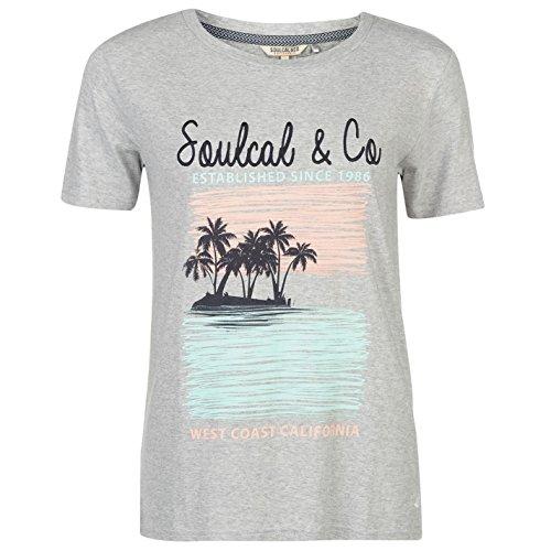 SoulCal Donna Orli Rinforzati T Shirt Girocollo Grafica Manica Corta Maglietta Grigio Chiaro M