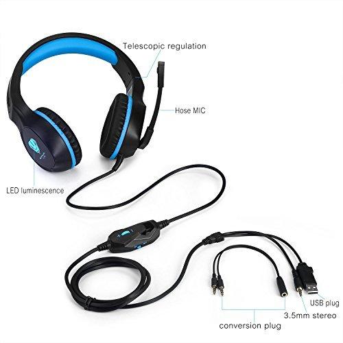 BUTFULAKE Gaming Headset, Audio Stereo Bass mit LED, Kopfhörer mit Controller Praxis, kompatibel für PS4, Xbox One, PC, Laptop, Tablet, Smartphone - 3