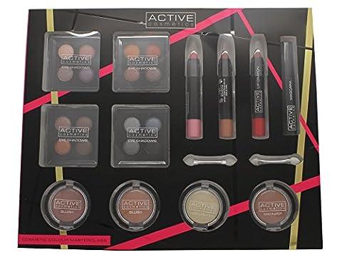 Active Cosmetics Colour Masterclass Set 4 x 10.24g Quad Ombretti + 2 x 3.58g Blusher + 1.79g Bronzer + 1.79g Highlighter + 3 x 7.8g Matita Labbra + 6.8ml Mascara Nero + 2 x Applicatori a Doppia Uscita