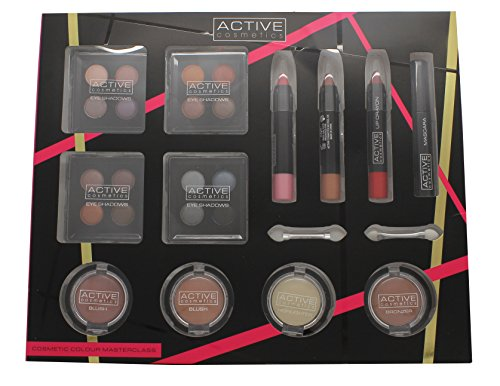 Active Cosmetics Colour Masterclass Set 4 x 10.24g Quad Ombretti + 2 x 3.58g Blusher + 1.79g Bronzer + 1.79g Highlighter + 3 x 7.8g Matita Labbra + 6.8ml Mascara Nero + 2 x Applicatori a Doppia Uscita