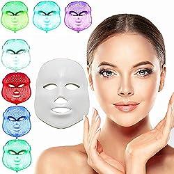 xuehaostore 7 Farbe LED Maske Photon Licht Hautverjüngung Therapie Gesichtsmaske Photon Photodynamik PDT Schönheit Gesichts Peels Maschine Tägliche Hautpflege Hause (weiß)