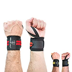 BEAR FIT - weight lifting wrist support wraps, one size fits all (sold in pairs) (RED)