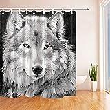 Nyngei Grauer Wolf-Badezimmer-Duschvorhang-wasserdichtes Gewebe mit 12 Haken neu 183X183CM