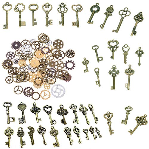120 Gramm antike Bronze Vintage Skelett Keys Steampunk Gears Cogs Charms Anhänger Uhr Rad für Schmuckherstellung Supplies, Steampunk Zubehör, Craft-Projekte (ca. 80 Stück)